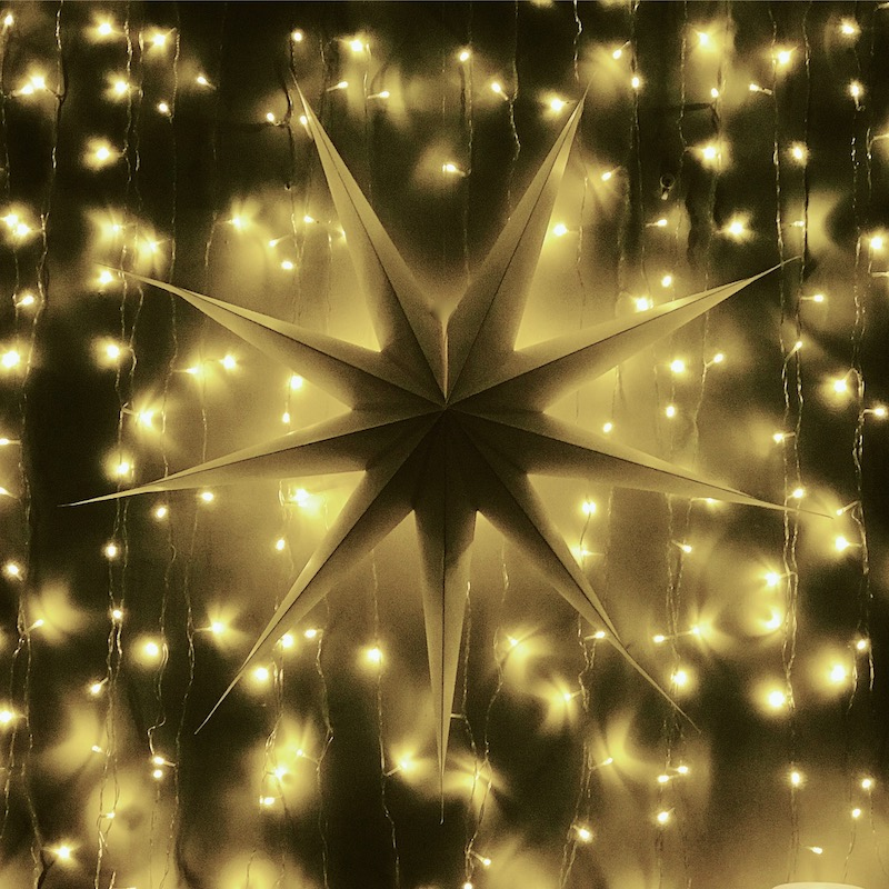 star decoration and string lights